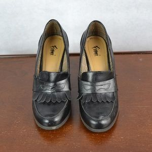 Women's High Heel Loafers Black Size 8